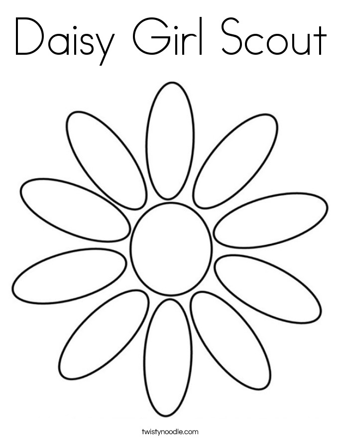 Girls Scout Daisy Coloring Pages  Daisy Girl Scout Coloring Page Twisty Noodle