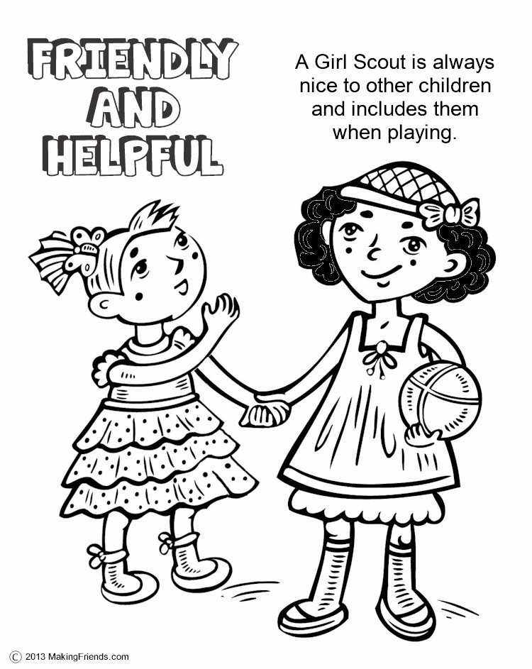 Girls Scout Daisy Coloring Pages  The Law Friendly and Helpful Coloring Page MakingFriends