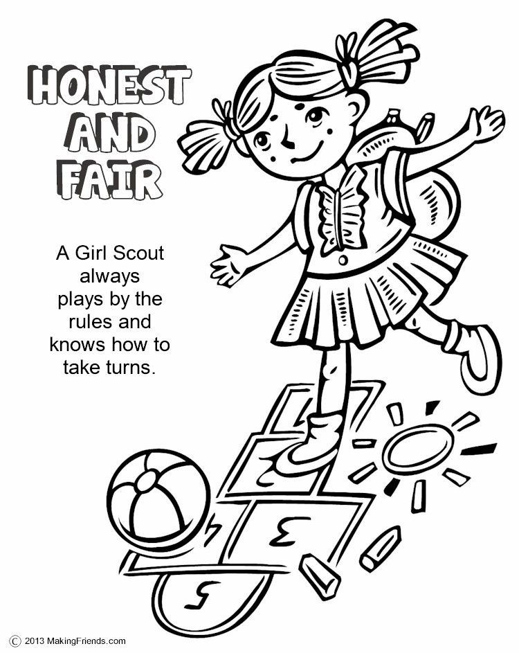 Girls Scout Daisy Coloring Pages  Girl Scouts Honest and Fair Print this page and have the