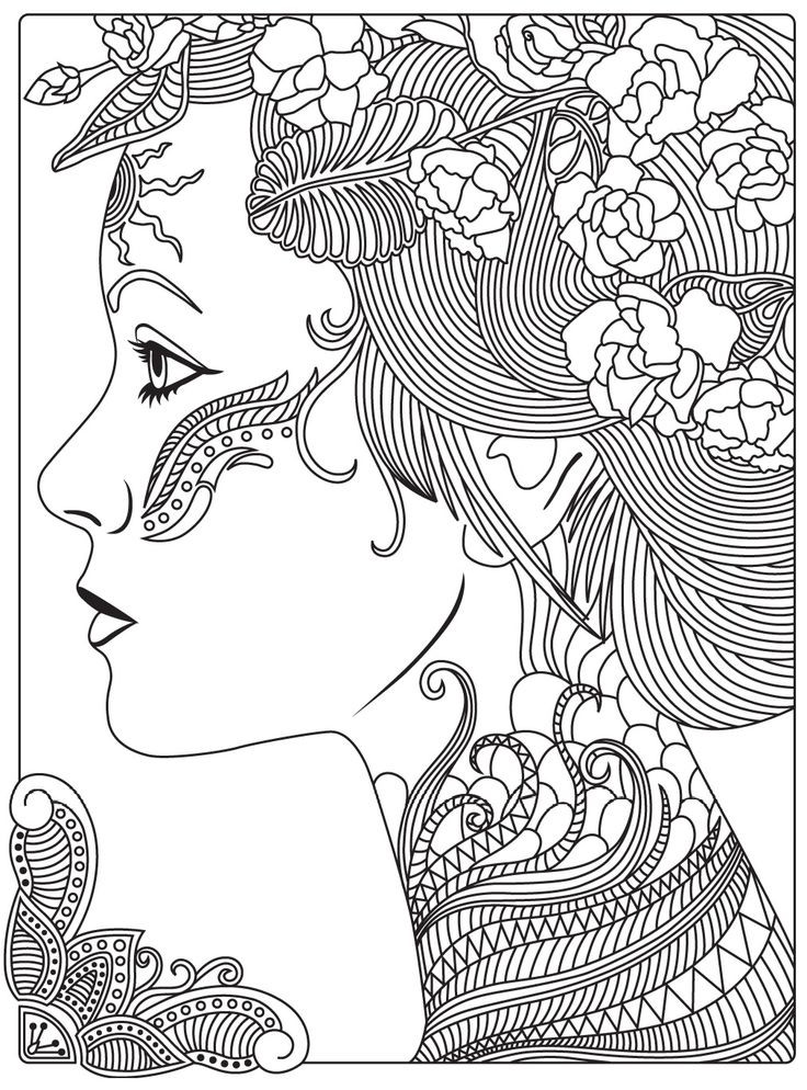 Girly Mandala Coloring Pages  578 best coloriages girly images on Pinterest