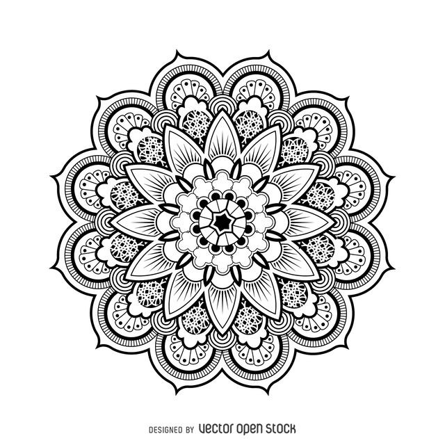 Girly Mandala Coloring Pages  Illustrated mandala design made from black lines in