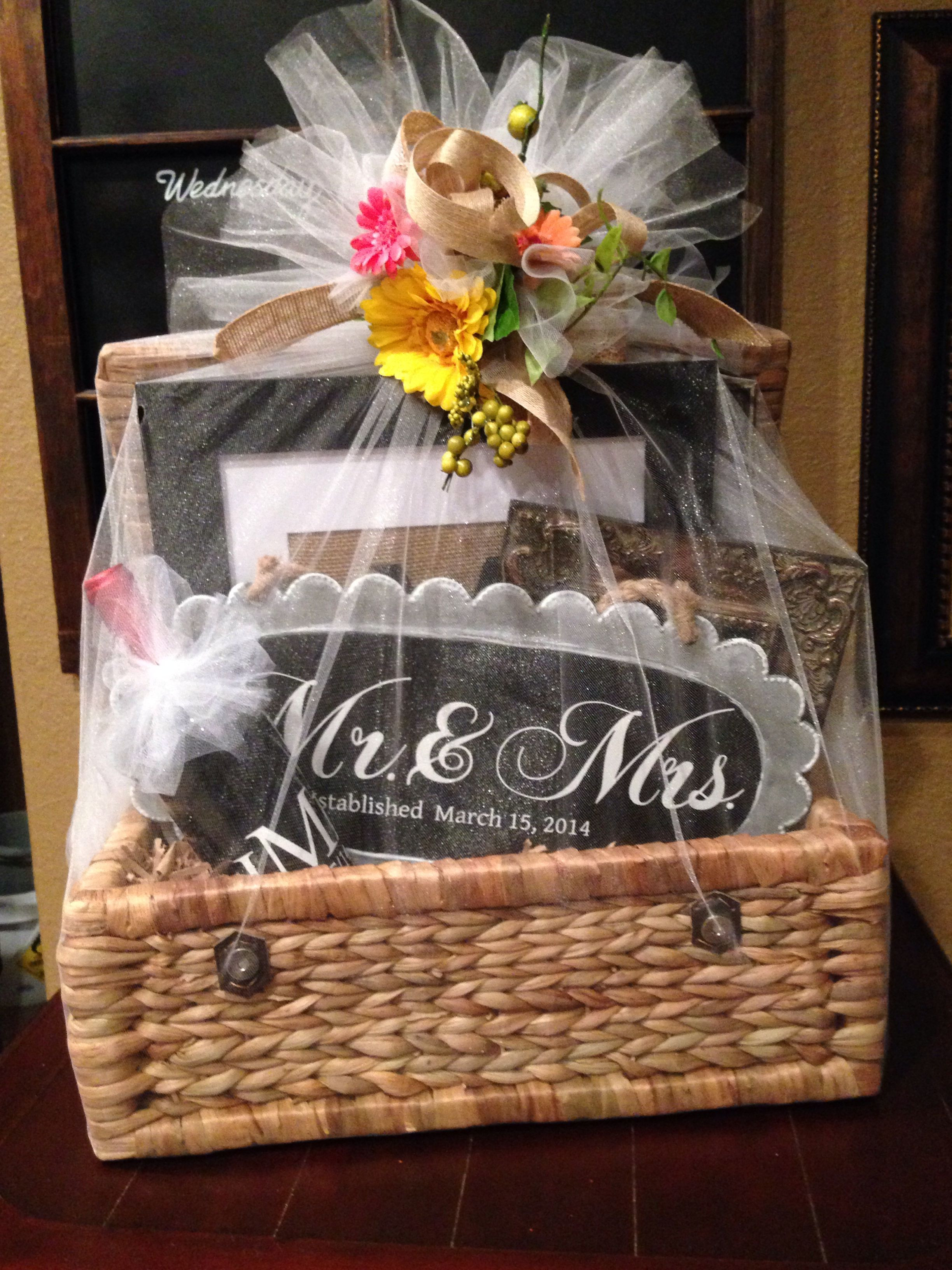 Good Wedding Gift Ideas  Wedding t basket filed with personalized ts made