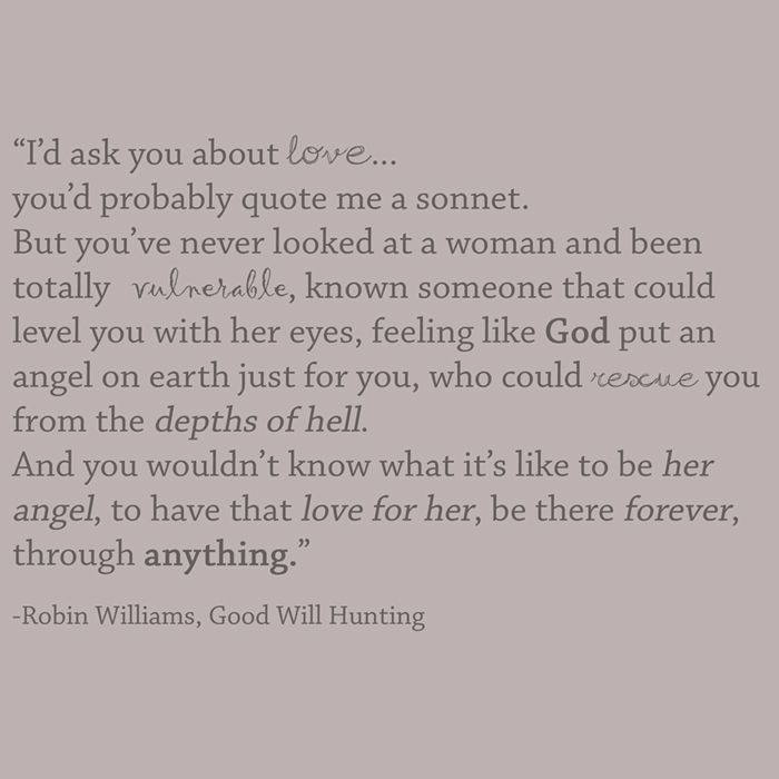 Good Will Hunting Love Quote  Good Will Hunting love quote