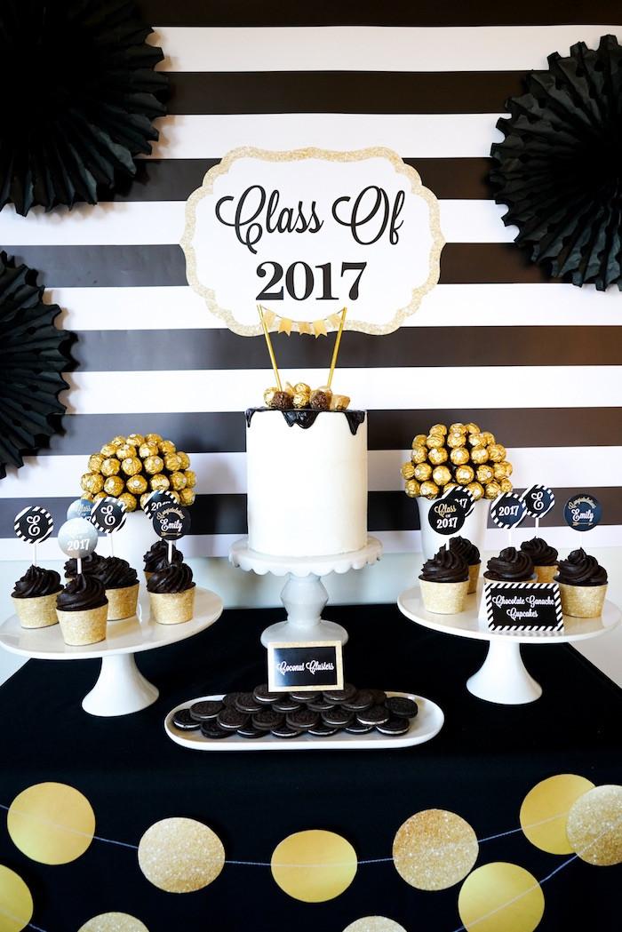 "Graduation Dinner Party Ideas  Kara s Party Ideas ""Be Bold"" Black & Gold Graduation Party"