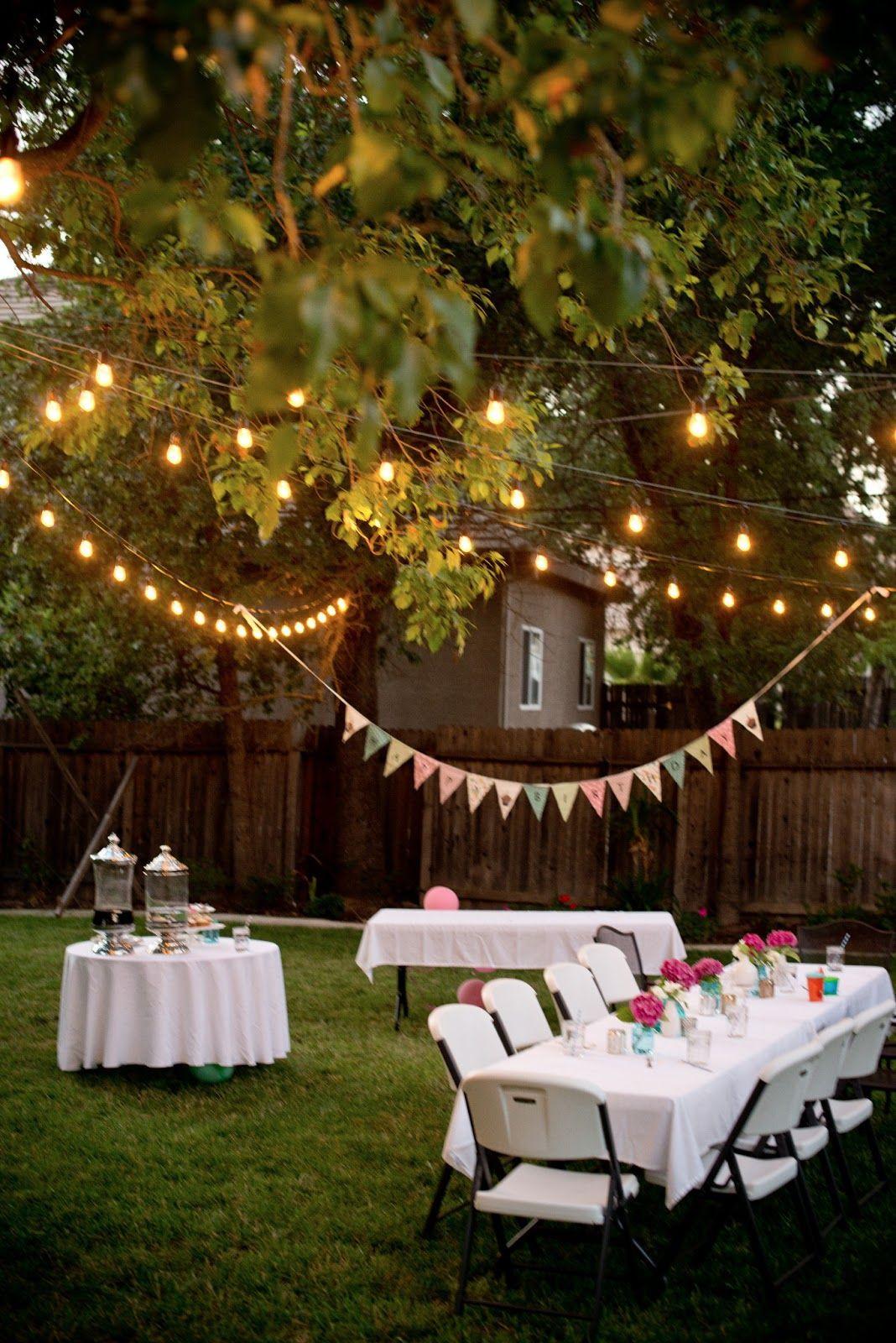 Graduation Party Ideas For Backyard  Backyard Birthday Fun Pink Hydrangeas Polka Dot Napkins
