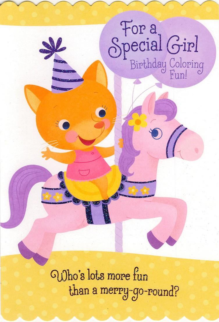 Hallmark Online Birthday Card  Birthday Girl Carousel Coloring Birthday Card Greeting