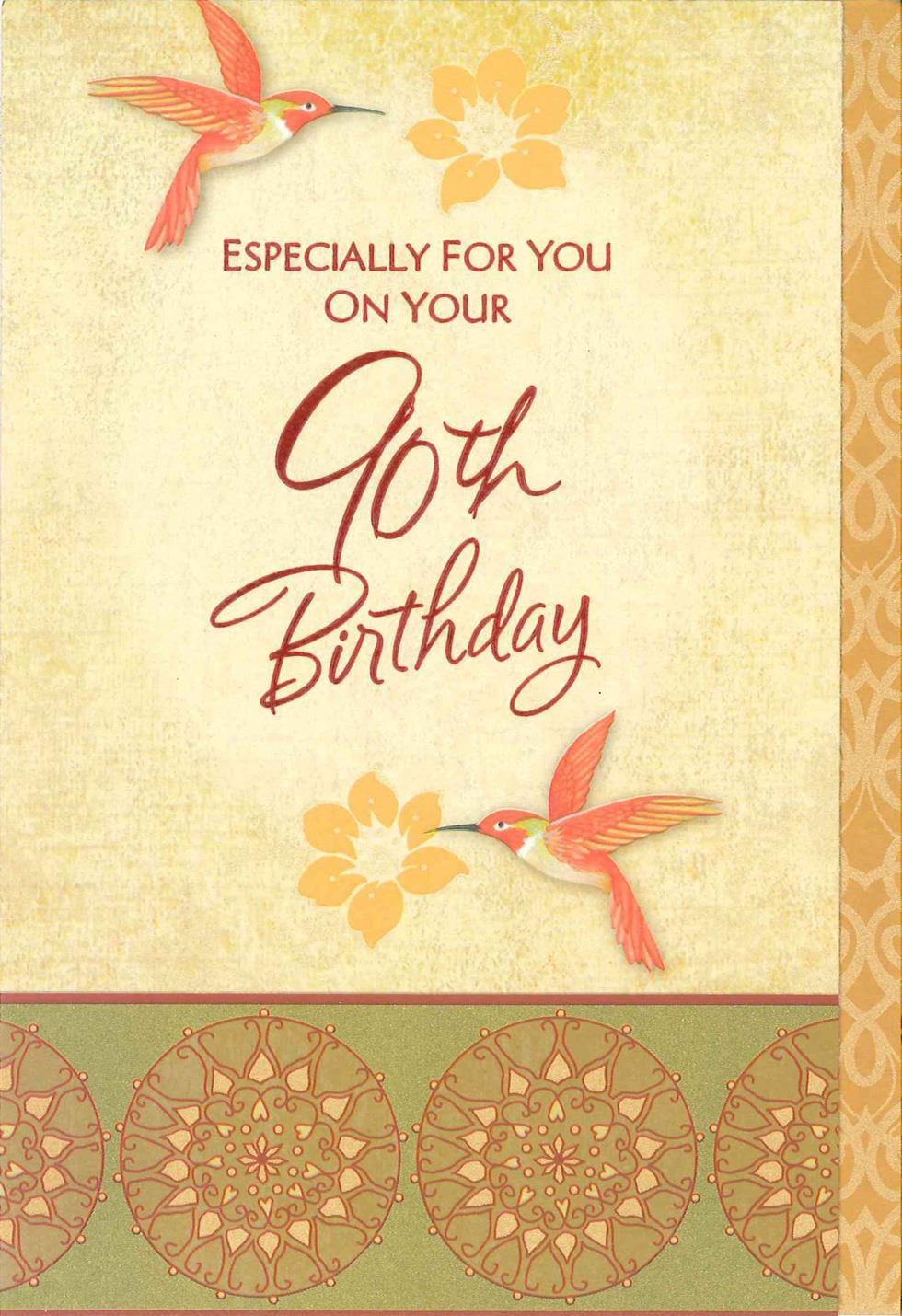 Hallmark Online Birthday Card  Hummingbirds and Flowers 90th Birthday Card Greeting