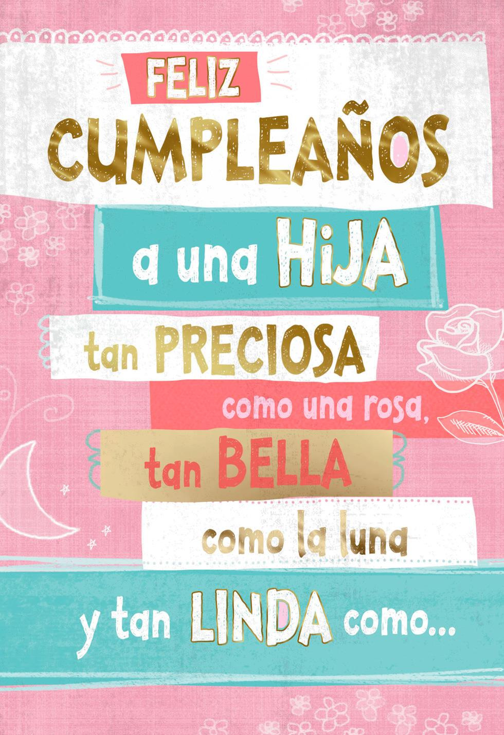 Hallmark Online Birthday Card  Like a Rose Spanish Language Daughter Birthday Card