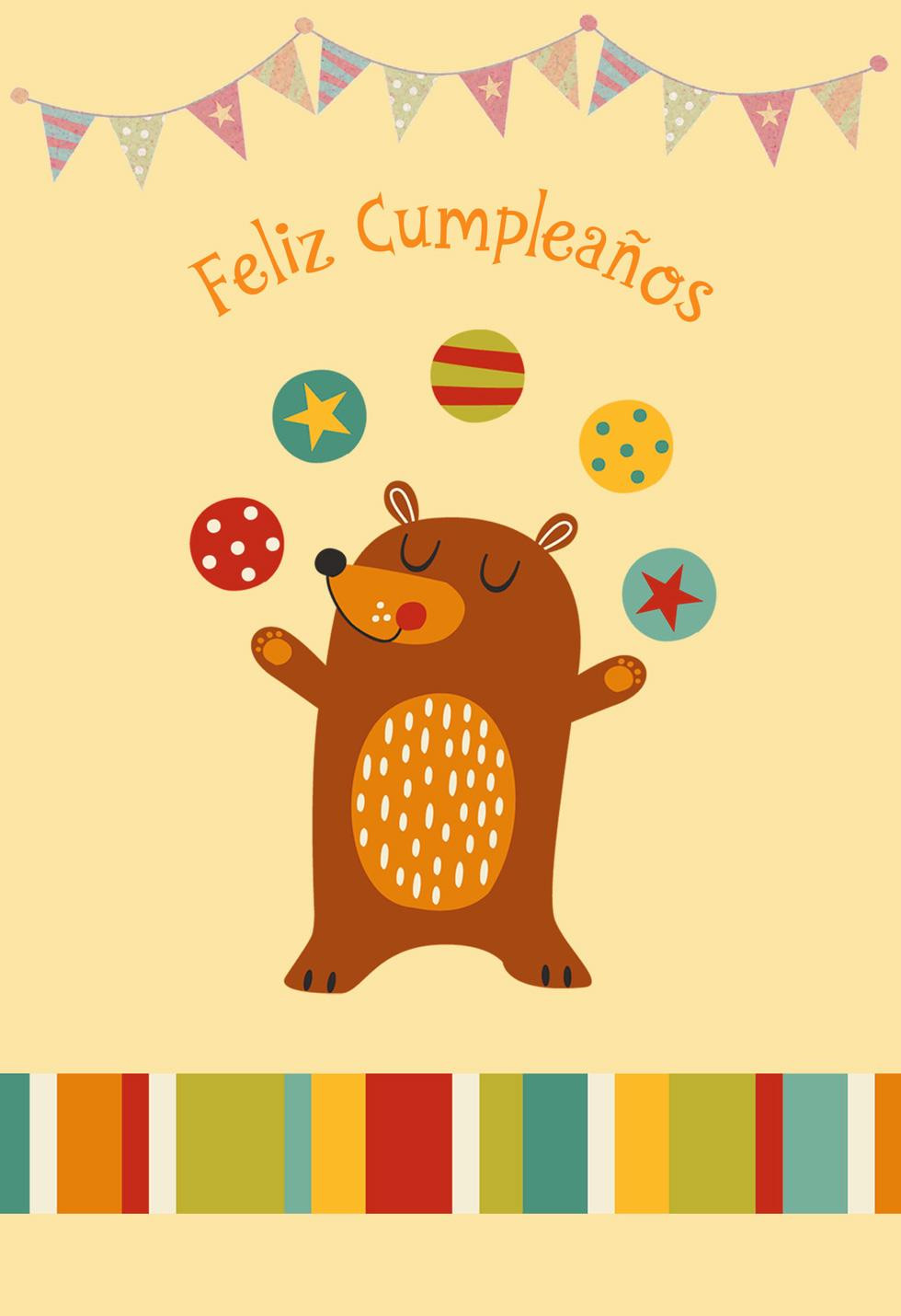 Hallmark Online Birthday Card  Juggling Bear Spanish Language Birthday Card for Child