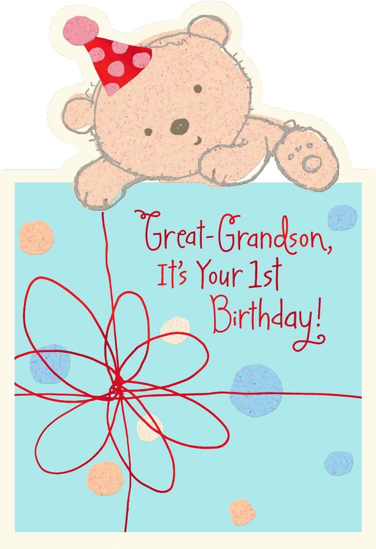 Hallmark Online Birthday Card  Baby Bear 1st Birthday Card for Great Grandson Greeting