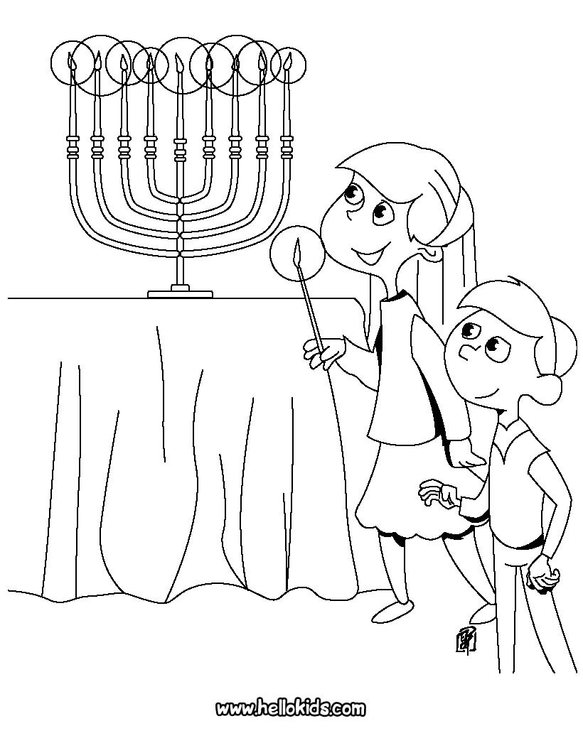 Hanukkah Coloring Pages  Kids lighting the menorah coloring pages Hellokids