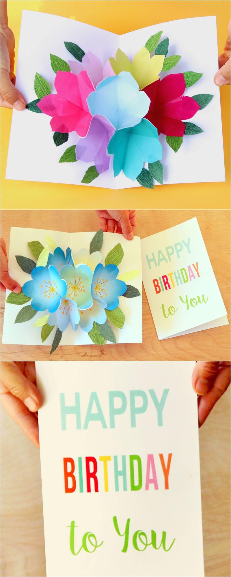 Happy Birthday Card Diy  Free Printable Happy Birthday Card with Pop Up Bouquet A