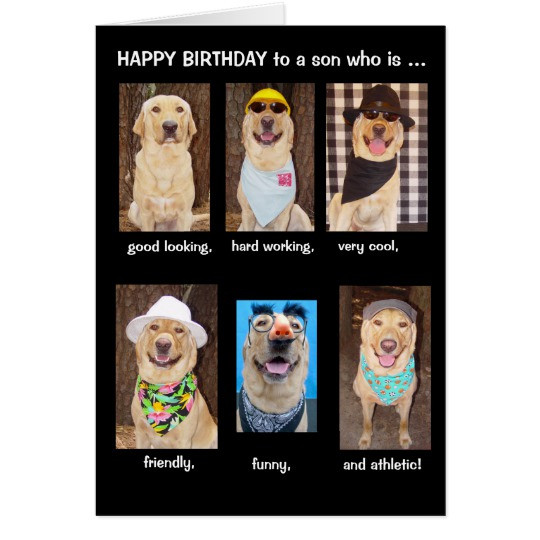 Happy Birthday Funny Son  Funny Son Birthday Card