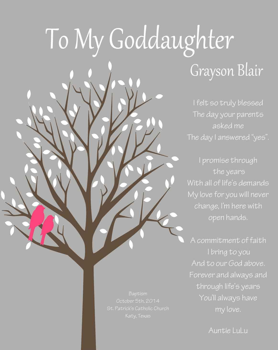 Happy Birthday Godmother Quotes  GODDAUGHTER t Gift for Goddaughter by WhisperHills on