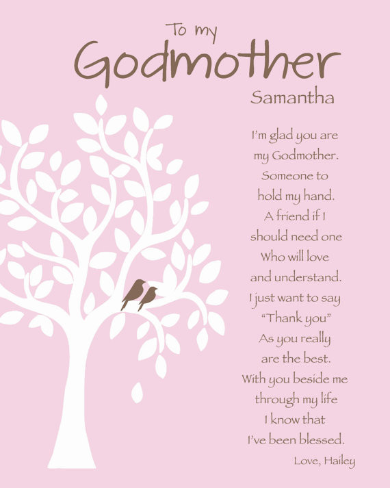 Happy Birthday Godmother Quotes  GODMOTHER Gift Personalized Godmother Print by