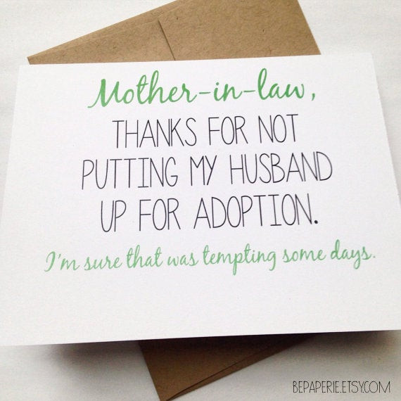 Happy Mothers Day Mother In Law Quotes  Mother in Law Card Mother s Day Card Mom Birthday Card