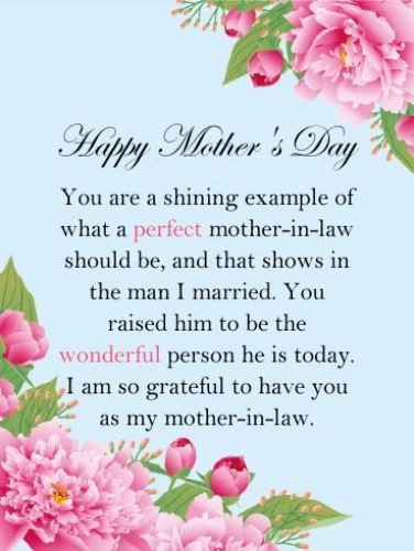 Happy Mothers Day Mother In Law Quotes  Happy mothers day mother in law life Even though it is by