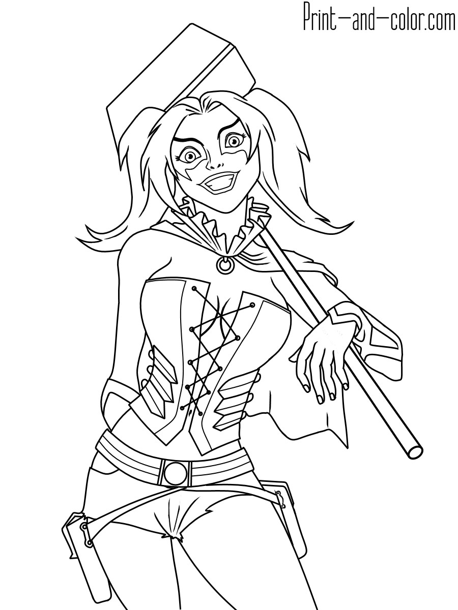 Harley Quinn Coloring Pages For Kids  Harley Quinn coloring pages