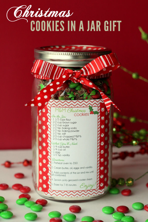 Holiday Cookies Gift Ideas  Christmas M&M Gift Jar