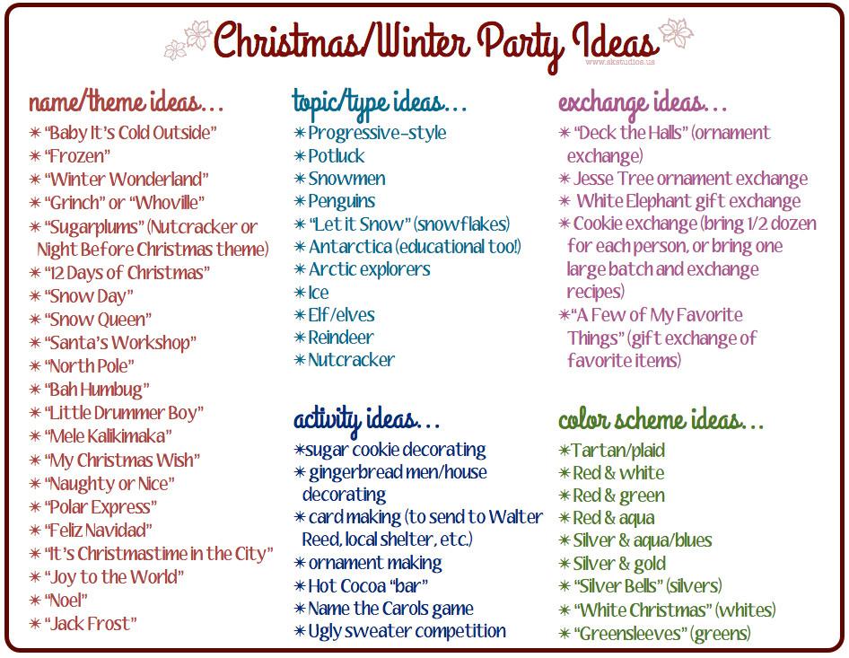 Holiday Party Names Ideas  SK Studios Homemaking 31 Days Advent Calendar & bonus