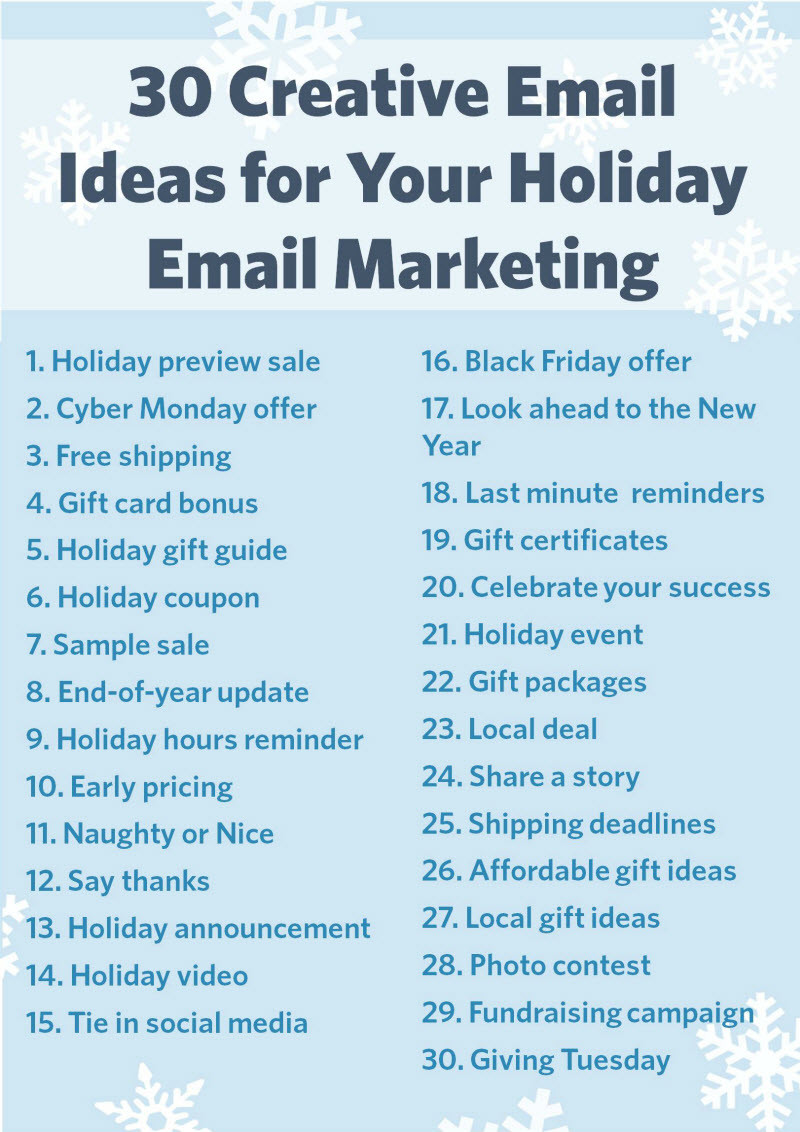 Holiday Party Names Ideas  30 Email Ideas for the Holidays Red Mango Marketing