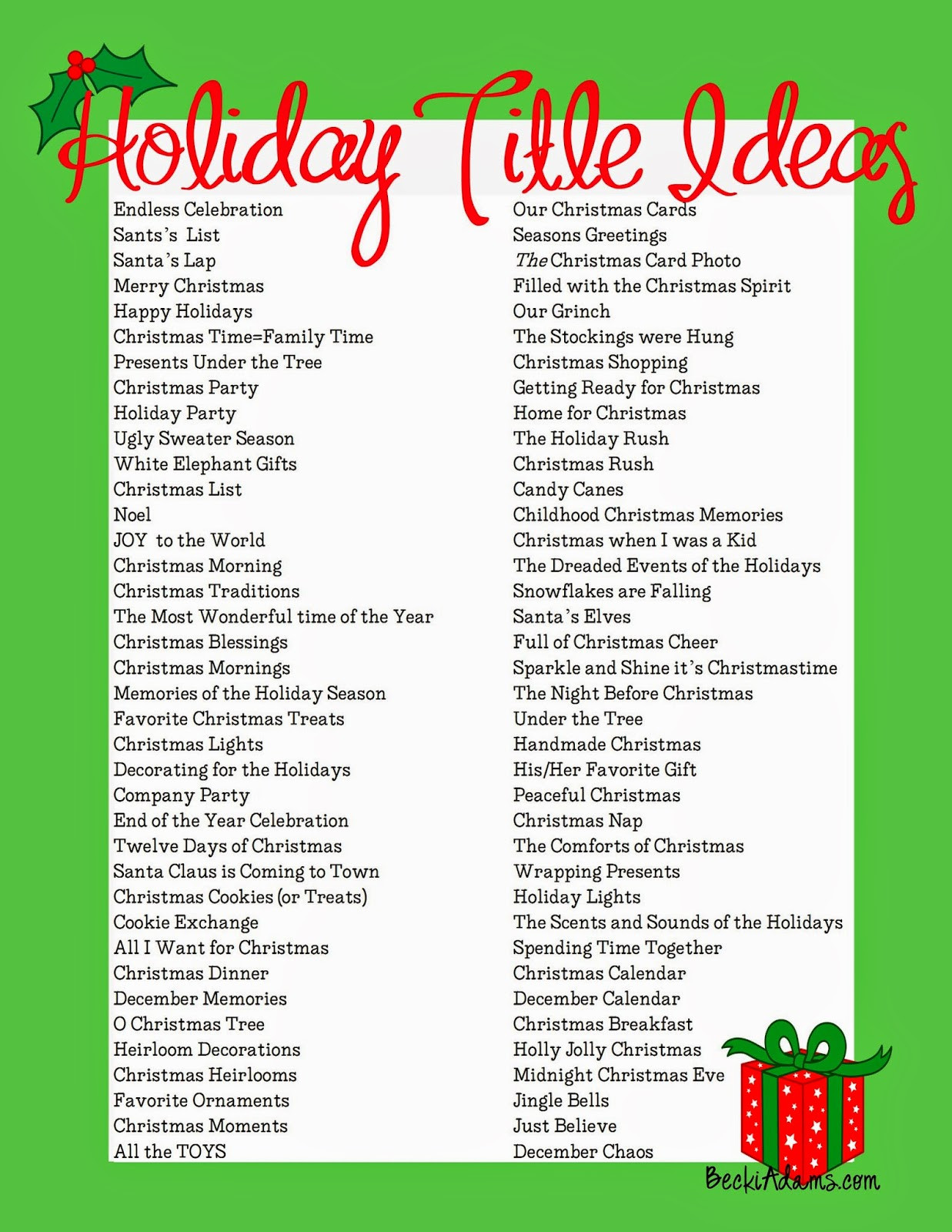 Holiday Party Names Ideas  Becki Adams 76 Holiday Page Title Ideas