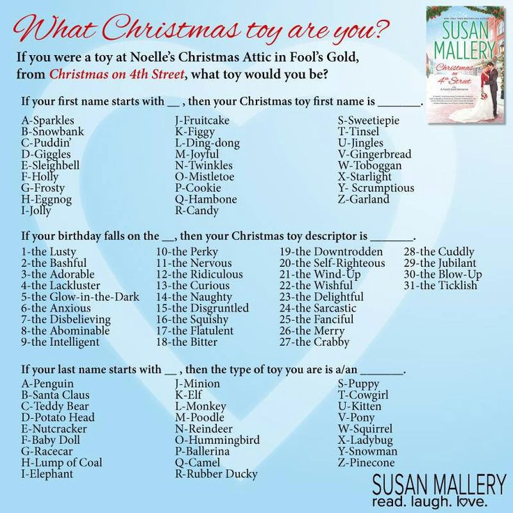 Holiday Party Names Ideas  What s your Christmas toy name Sparkles the Self