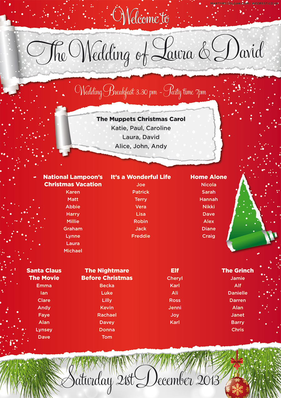 Holiday Party Names Ideas  Christmas Wedding Table and Seating Plan