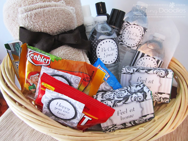 House Guest Gift Basket Ideas  Wel e Guest Basket Darling Doodles