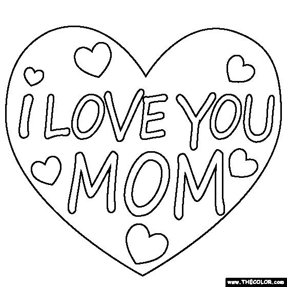 I Love You Mom Coloring Pages  I Love You Mom Coloring Page Mom coloring