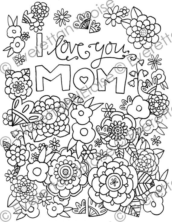I Love You Mom Coloring Pages  Digital Download I Love You Mom Coloring Page