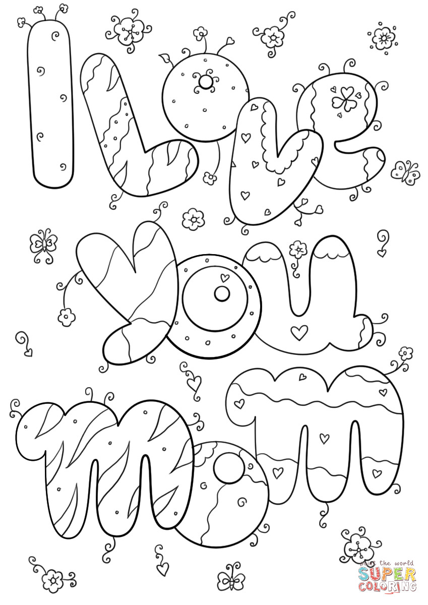 I Love You Mom Coloring Pages  I Love You Mom coloring page
