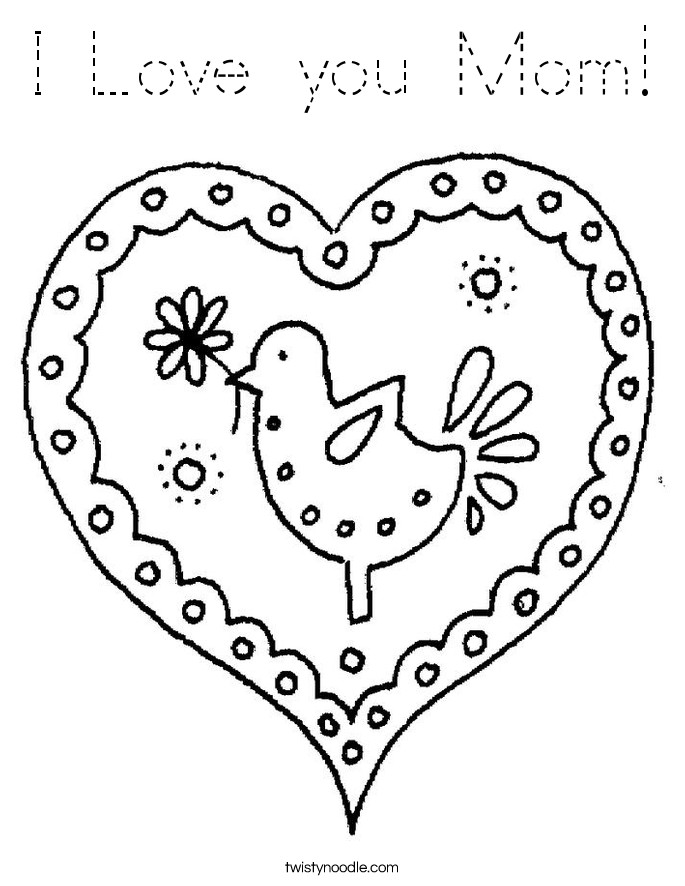 I Love You Mom Coloring Pages  I Love you Mom Coloring Page Tracing Twisty Noodle