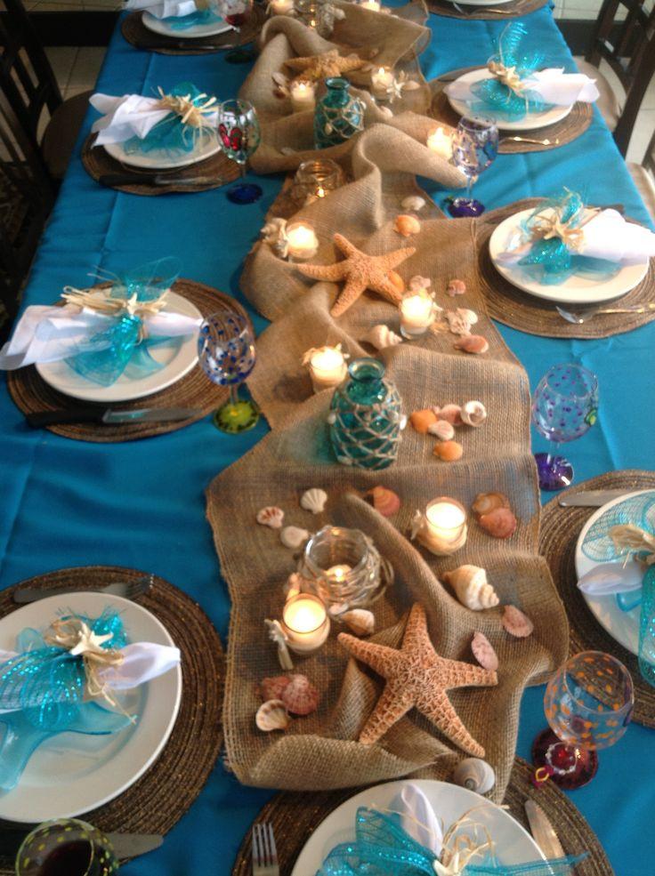Ideas For Beach Party Theme  Easy Arrangement Centerpieces Beach Wedding