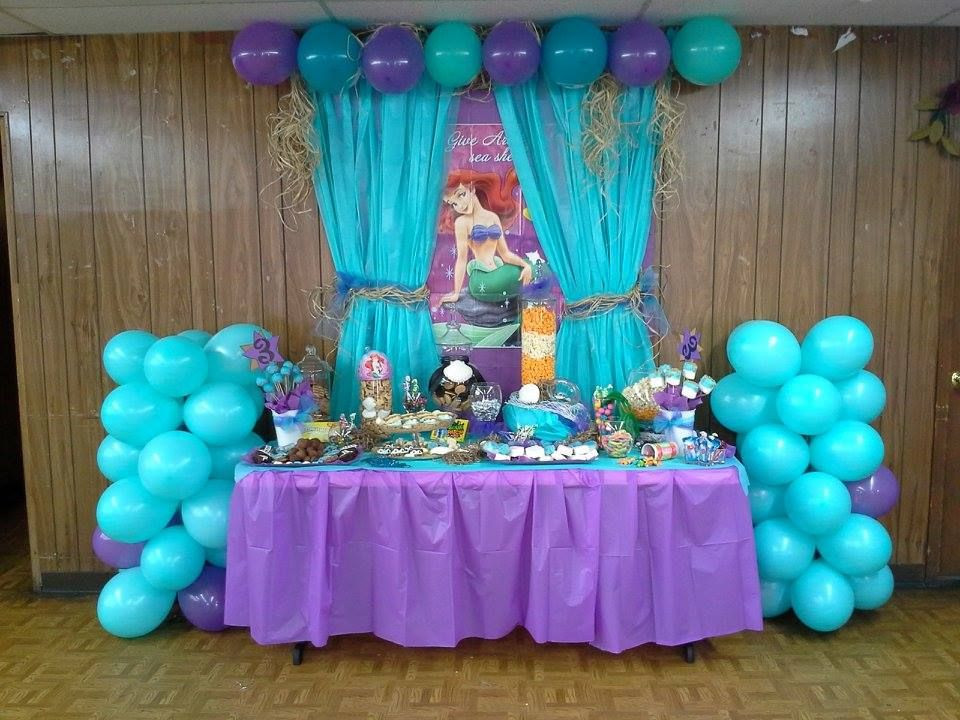 Ideas For Little Mermaid Birthday Party  The Little Mermaid Birthday Party Dessert Buffet Also