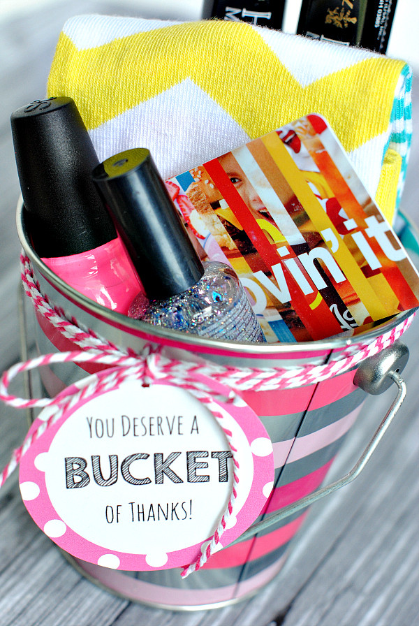 Inexpensive Thank You Gift Ideas  Thank You Gift Ideas Bucket of Thanks Crazy Little Projects