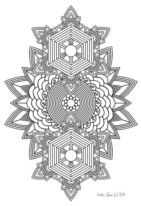 Intricate Coloring Pages For Kids  Printable Intricate Mandala Coloring Pages Instant