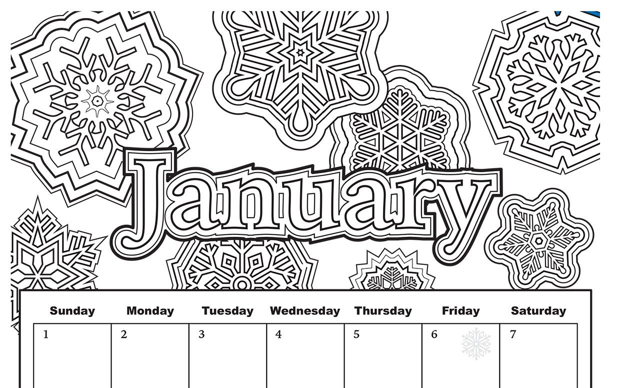 January Coloring Pages Free Printable  Free Download Coloring Pages from Popular Adult Coloring