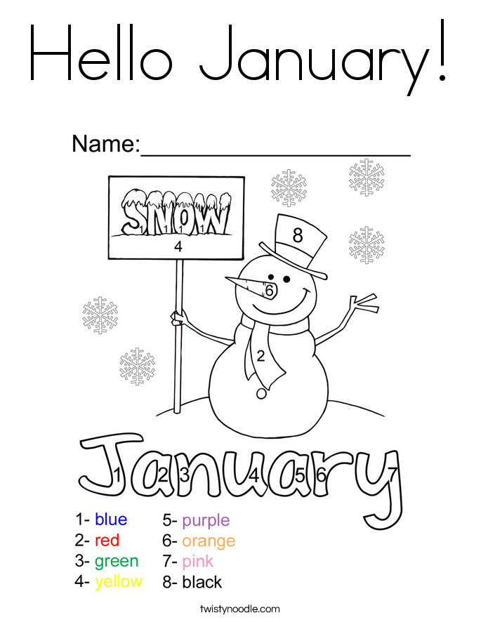 January Coloring Pages Free Printable  Hello January Coloring Page Twisty Noodle