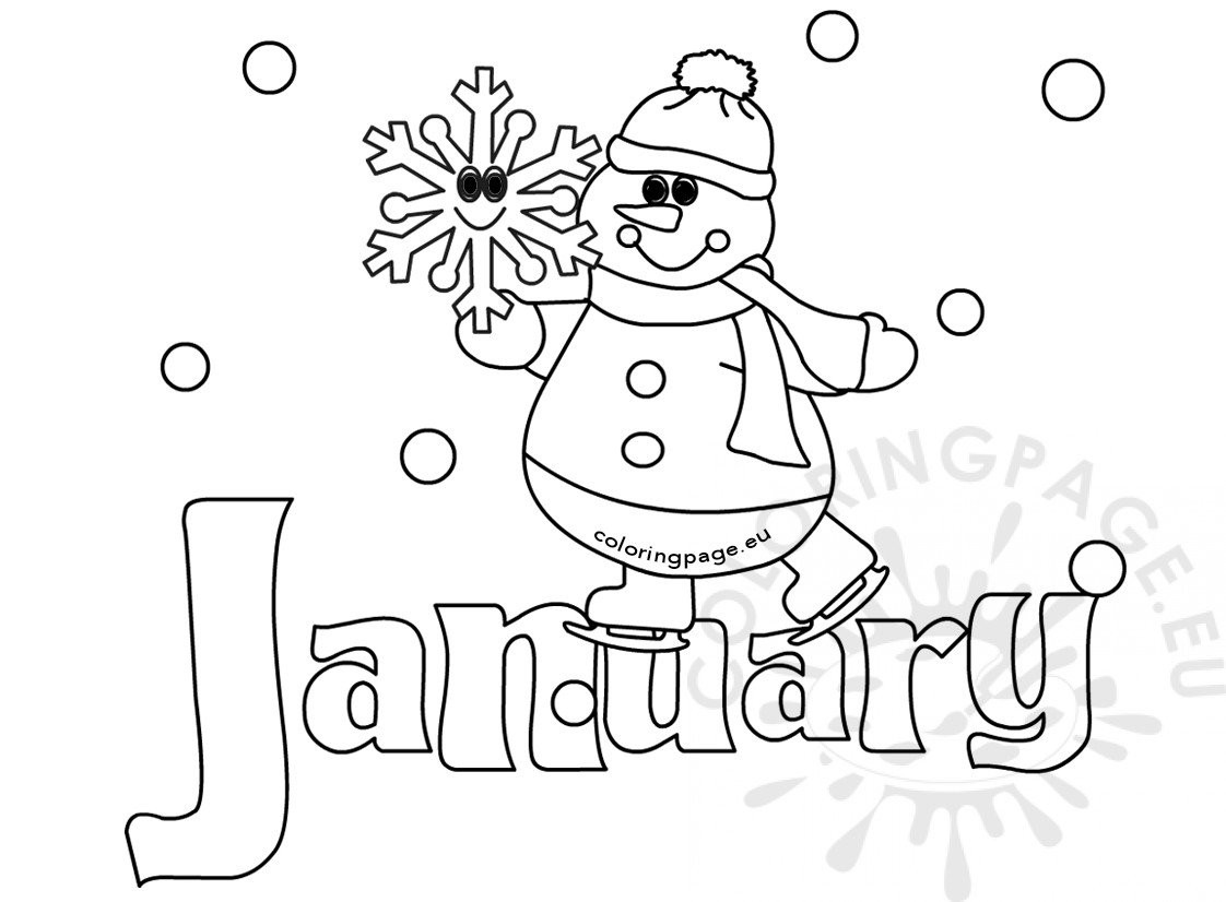 January Coloring Pages Free Printable  Winter coloring page January Snowman – Coloring Page