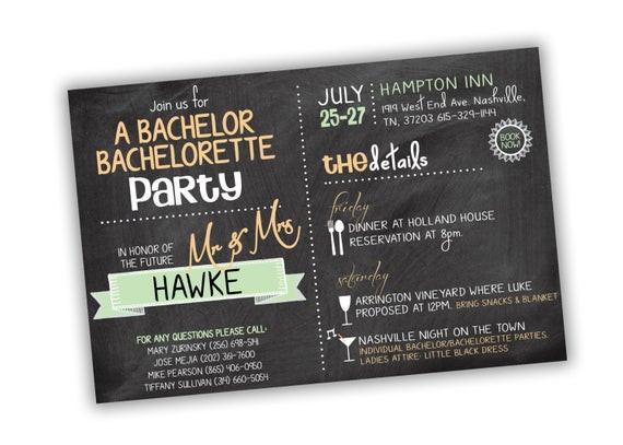 Joint Bachelor Bachelorette Party Ideas  Bachelor Bachelorette Party Invitation Customizable Colors