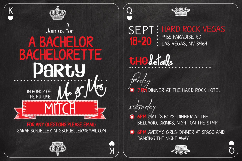 Joint Bachelor Bachelorette Party Ideas  Vegas Casino themed Bachelor Bachelorette Party Invitation