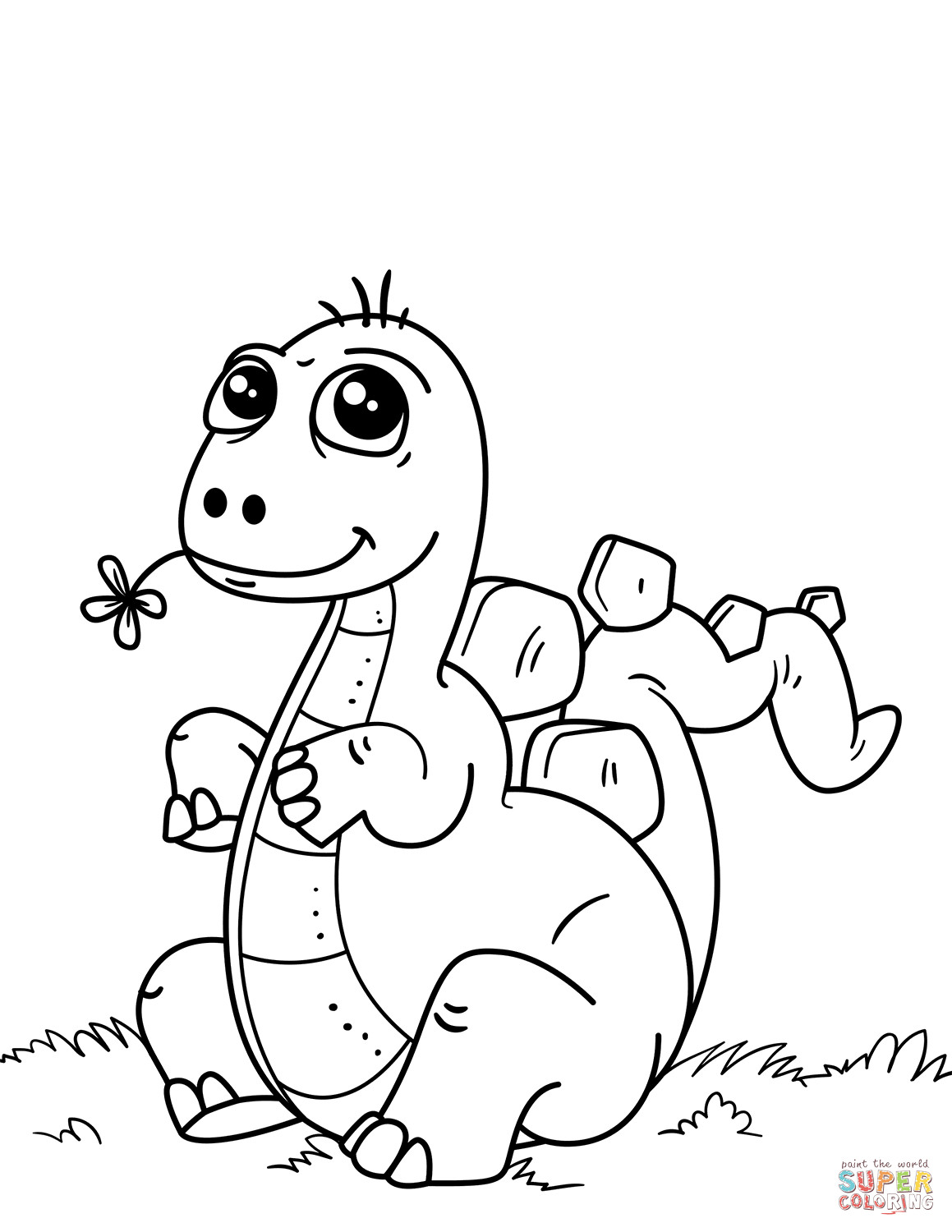 Kids Coloring Pages Dinosaur  Cute Little Dinosaur coloring page