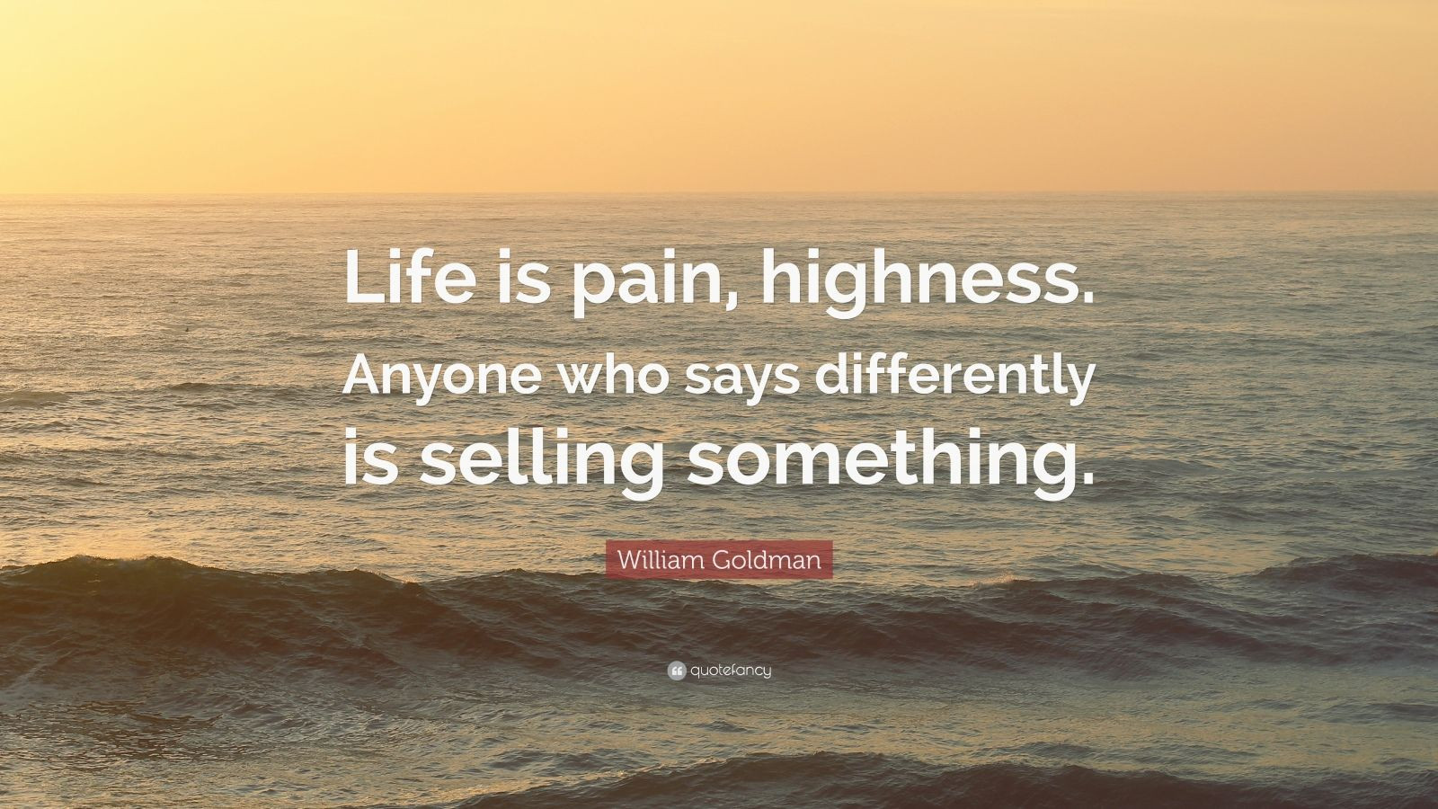 """Life Is Pain Quote  William Goldman Quote """"Life is pain highness Anyone who"""