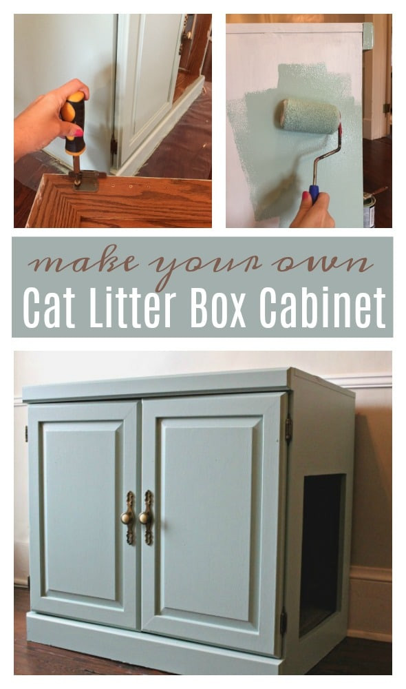 Litter Box Furniture DIY  Old Cabinet to Cat Litter Box Furniture WOW Hide a