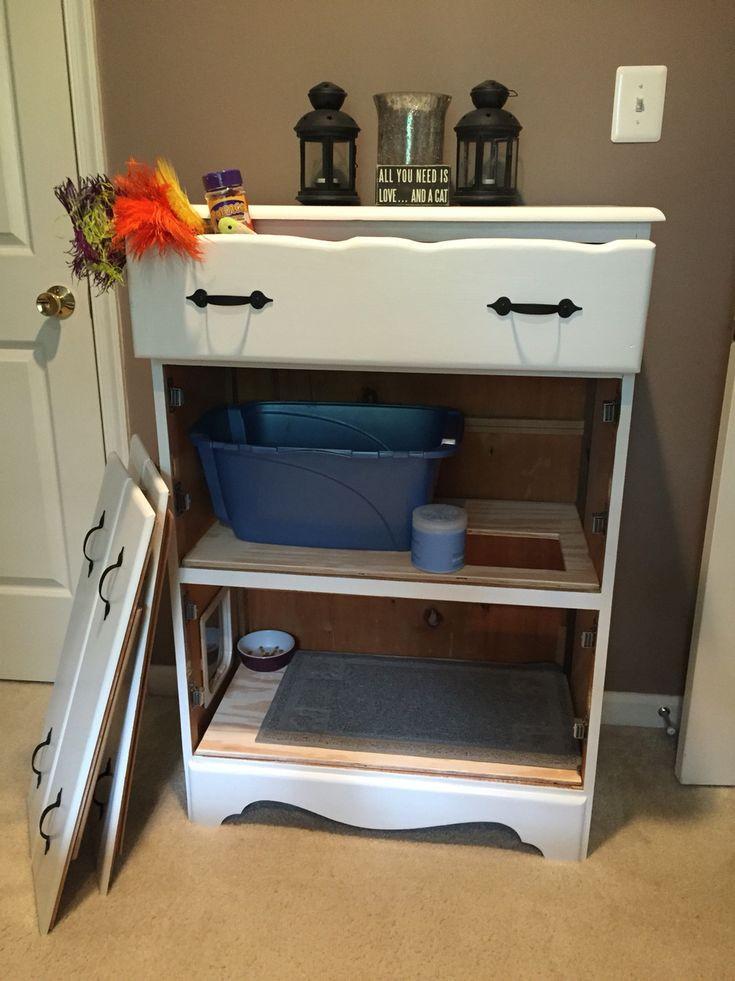 Litter Box Furniture DIY  Best 25 Hidden litter boxes ideas on Pinterest