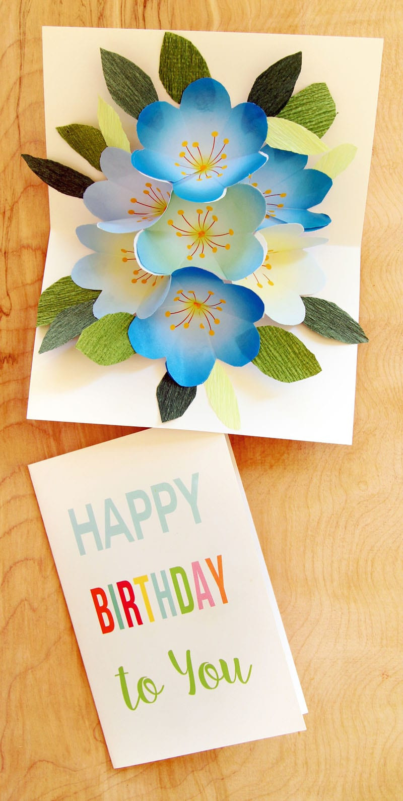 Make A Birthday Card Online  Free Printable Happy Birthday Card with Pop Up Bouquet A