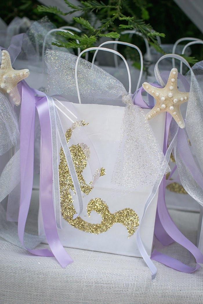 Mermaid Party Gift Bag Ideas  Kara s Party Ideas Mermaid Favor Bag from a Modern