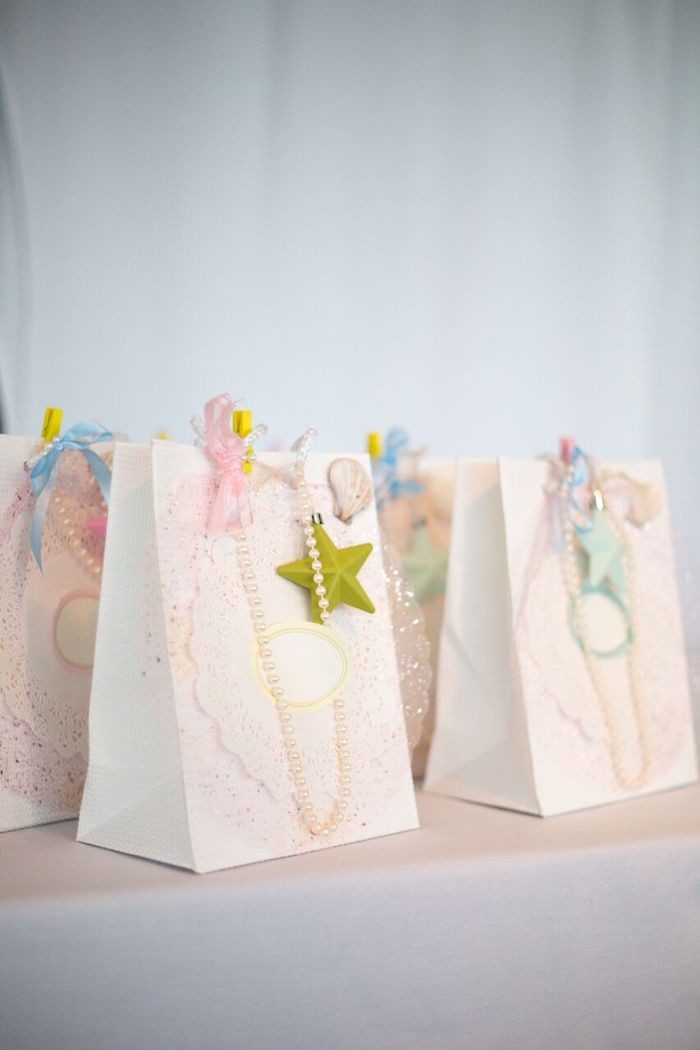 Mermaid Party Gift Bag Ideas  Kara s Party Ideas Floral Pastel Mermaid Birthday Party