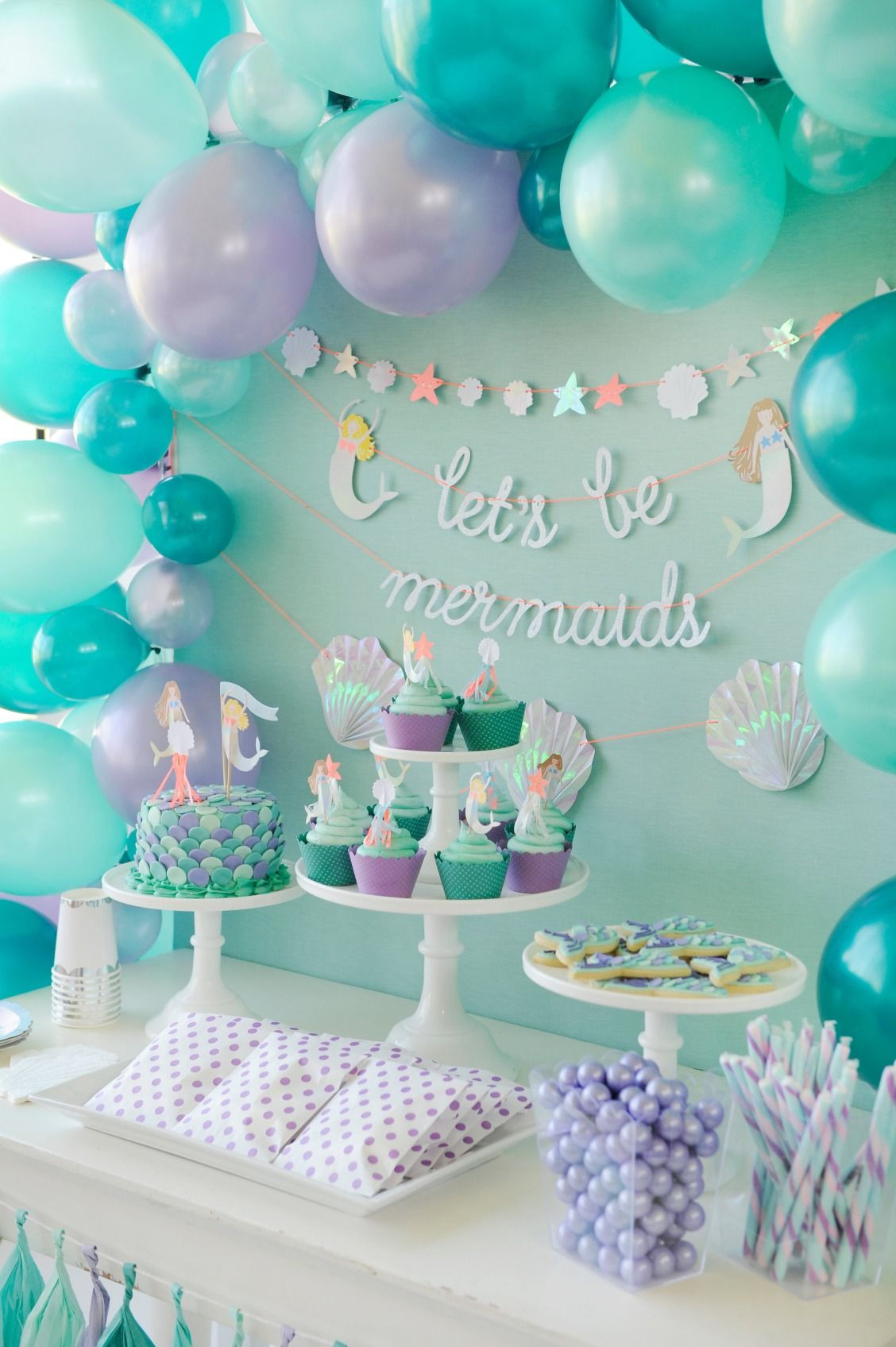 Mermaid Party Theme Ideas  Mermaid themed children s birthday party dessert table